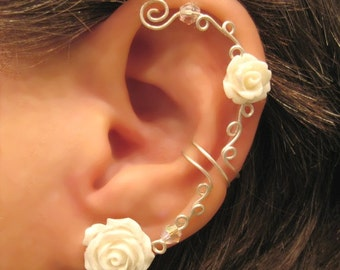 "Cartilage  Ear Cuff  Wedding Prom Bridal No Piercing ""Roses are White"" Helix Conch"