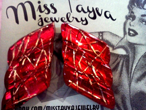 """CONFETTI LUCITE corrugated ATOMIC earrings in """"Upsetter"""" 1950s"""