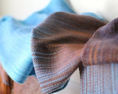 Woven scarf, pashmina scarf, women wrap, gradient color turquoise, blue and brown long with fringe gift for her