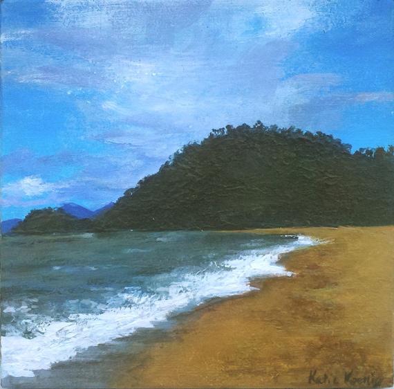 50% OFF 6 x 6 Seascape acrylic painting ochre gold jade green ocean Australia