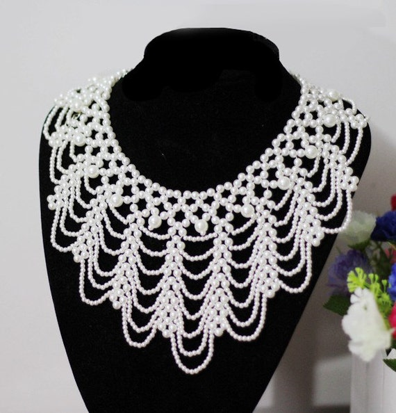 Handmade Detachable Princess Lady pearl collar Necklace