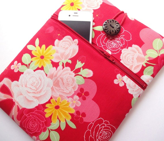 Kimono iPad 3 Case iPad 2 Sleeve iPad Cover - Front Zippered Pocket Padded Tablet case - Japanese Cotton fabric flowers red