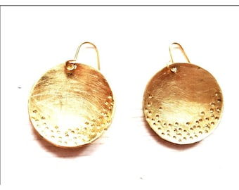 Textured Brass Dome Earrings