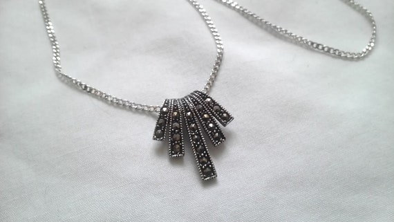 Vintage Sterling Marcasite Slide Pendant Necklace with Chain---SALE---REDUCED