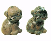 Rare Antique Hubley Figural Cast Iron Puppy Dogs  - Bookends or Door Stops - Mold Samples