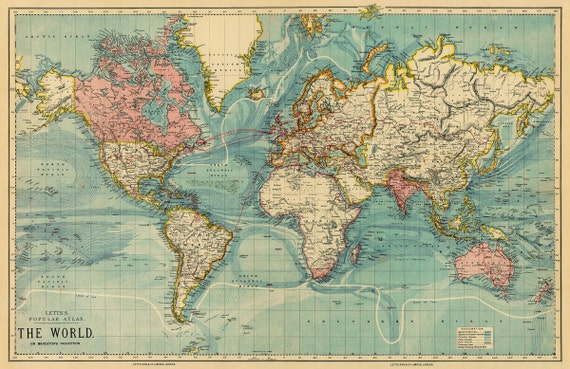 Vintage map of the world 30 x 465 print on like this item gumiabroncs Images