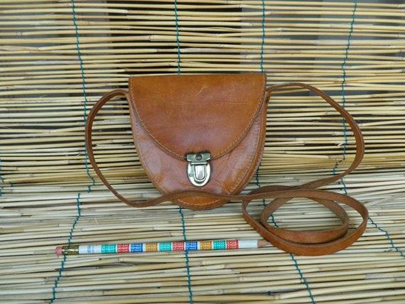 Vintage Lady's 1980's Mini Light Brown Leather Bag Shoulder Strap