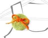 orange bow on green crochet disc brooch pin wedding boutonnieres