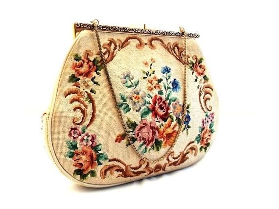 Vintage Tapestry Bag/Cream Tapestry Purse/Floral Tapestry Bag/Floral Purse