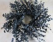 Country Dark Blue Eucalyptus Cream Pip Berry Dried Wreath  24 in
