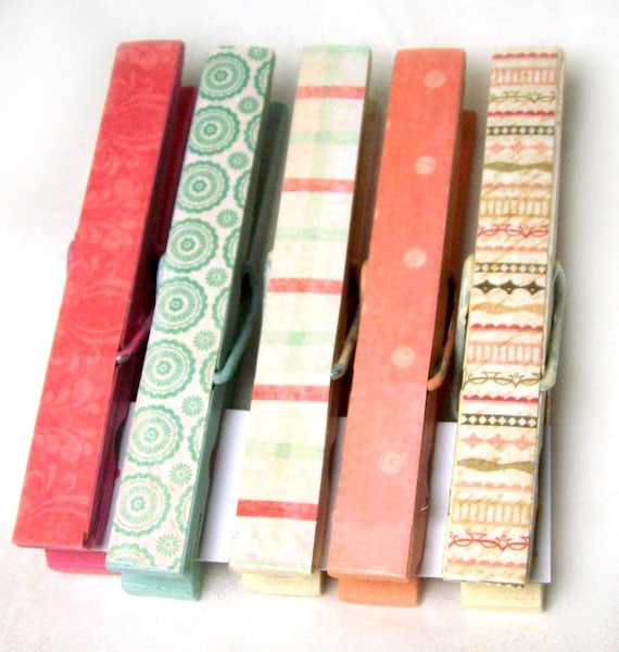 5 decorative clothes pins in Vintage Peach and Mint - hand painted and papered in vintage look prints- ready to ship