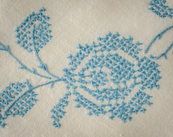 Tablecloth for CARD TABLE Linen Blue Embroidered Cloth and Napkins