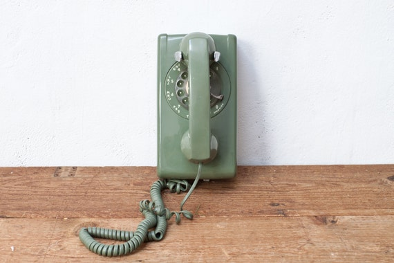 Sage Green 1960s Rotary Telephone Phone