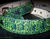 Bad Ass Hand Made Leather RAT FINK Tooled, Dyed, Jewelled and Studded BELT -- Unisex