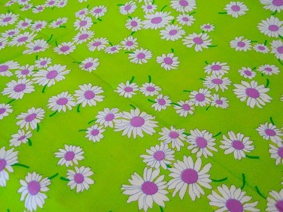 "Vintage Fabric - Neon Purple & White Daisies on Lime  36""L x 44""W -NehiandZotz"