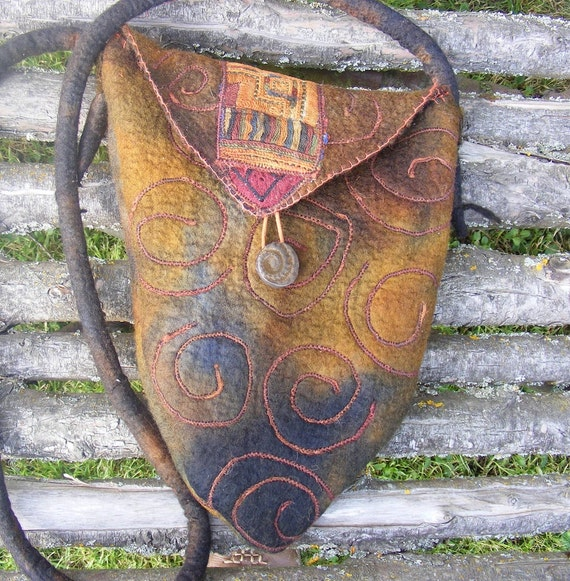 Tribal Earth Hand Felted Bag
