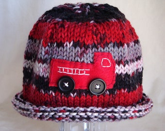 Fire Truck Beanie, Hand Knit Baby Hat with Fire Truck, Newborn, Baby and Toddler Sizes
