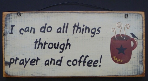 Coffee Sign Primitive Star Antiqued Kitchen Wall Decor Wood Hand Painted