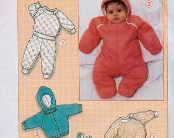 Simplicity 7108, Size All, 1-18 Months, Babies' Top and Pants, lined Jacket and Padded Snowsuit and Overalls Pattern, UNCUT, Outerwear