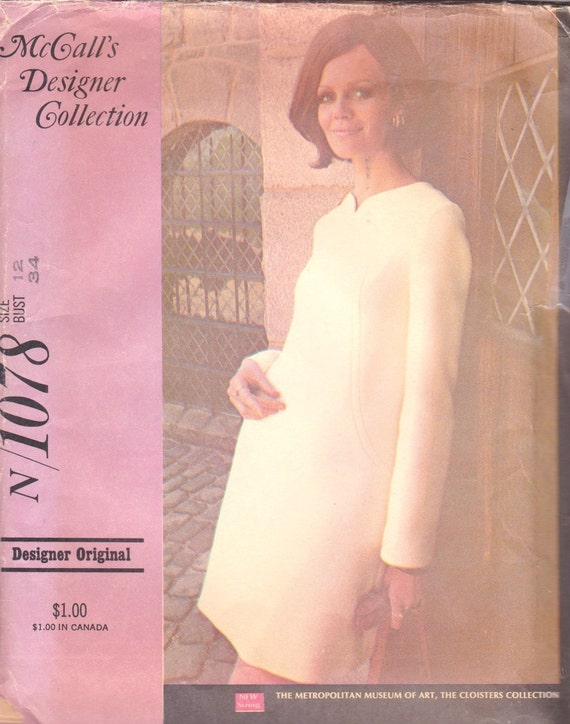 "McCall's Designer Collection N/1078 Misses' Dress in Three Versions Pattern, UNCUT, Size 12, Bust 34"", 1969"