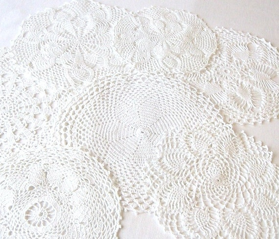 Vintage Hand Crocheted Doilies, Seven White Handmade Doilies, Circular Handmade Doilies