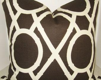BOTH SIDES 20 X 20 Brown Terrain geometric pillow cover Robert Allen Bamboo Lattice