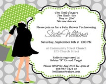 Modern Mom Umbrella Baby Shower Invitation