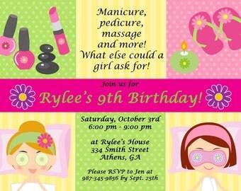 Printable Spa Party Invitation