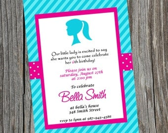 Little Lady Barbie Head Birthday Invitation.  Girly Girl Printable Invitation.  Customized Invite. Barbie Invite.  Sweet Sixteen Invitation.
