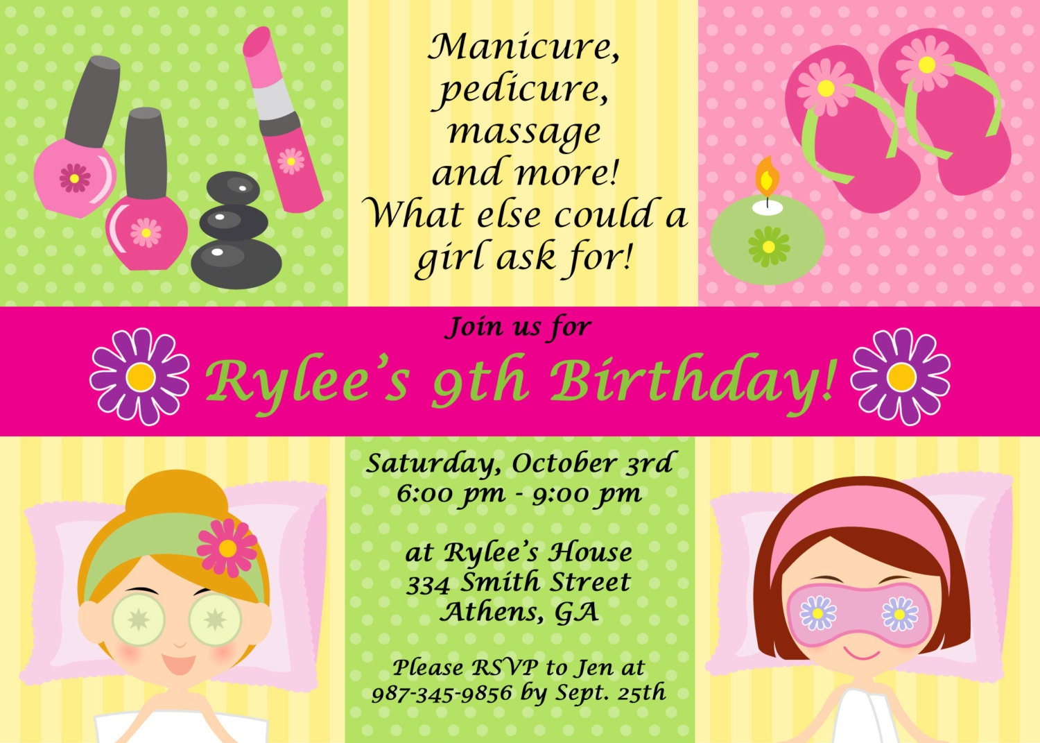 Printable Spa Party Invitation – Printable Spa Party Invitations