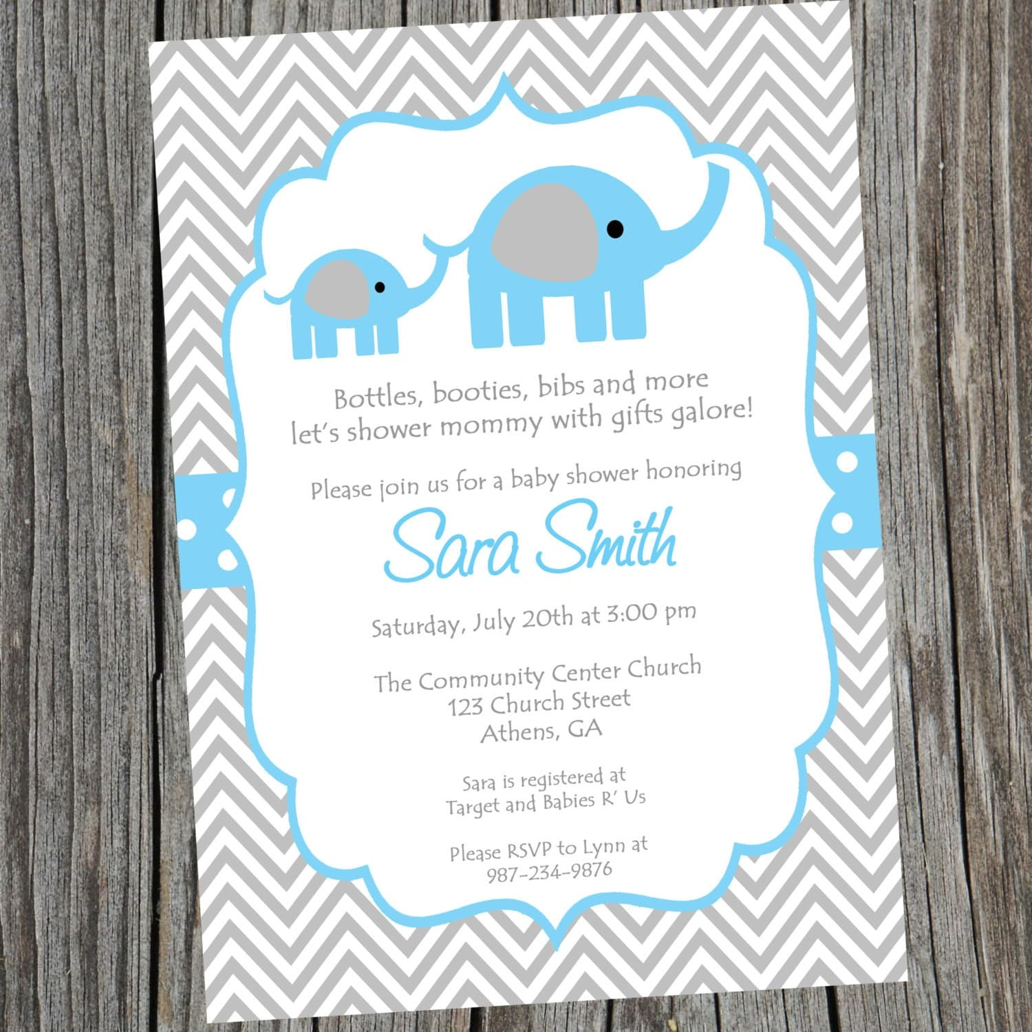 Blue Elephant Baby Shower Invitation Printable Baby boy