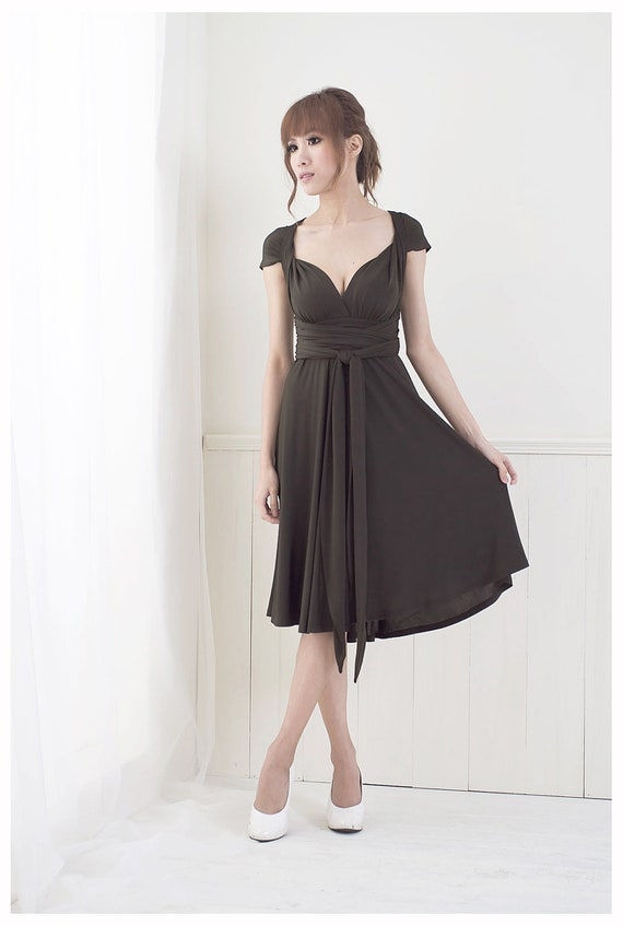 Sample Clearance - Two-Tone Convertible/Infinity Dress in Glossy Chocolate - Size S