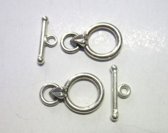 SALE toggle sterling silver round 10mm clasp 2 clasps