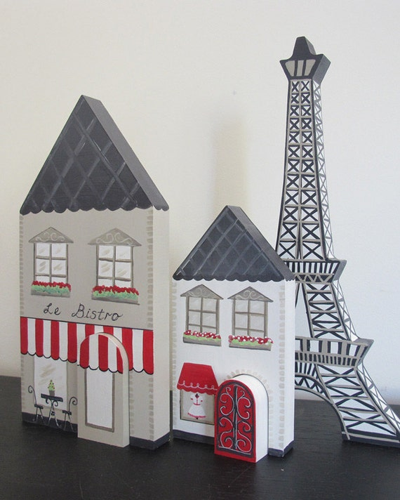 Reduced - A  French Village - red and taupe,french themed room decor, paris, wooden playset