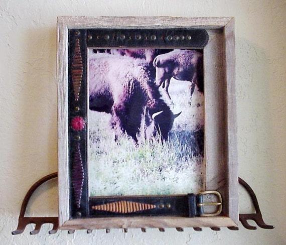 Cowboy Belt Frame, Barnwood Western Upcycled Leather Belt Open Frame, Original OOAK Cowgirl Cowboy Home Decor itsyourcountry