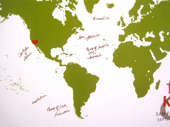 World Map Guestbook, Signature World, More sizes available, Destination wedding,, Farewell gift, Cotton Anniversary