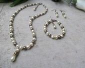 Bridesmaid Ivory and Bronze Teardrop Y Necklace Swarovski Pearls and Rhinestones Bridal Jewelry Set