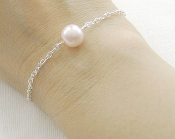 Simple chic single pearl bracelet, bridesmaids bracelet, wedding jewelry - BR001 (Choose your pearl colour)