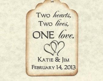 100 TWO HEARTS Personalized  Wedding Wish Tags - Wedding Favors-Elegant Wedding Tags