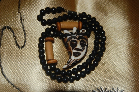 Egyptian Mystic Necklace with Carved Face Pendant Psychic Witch Hippie Boho Mask Pendant