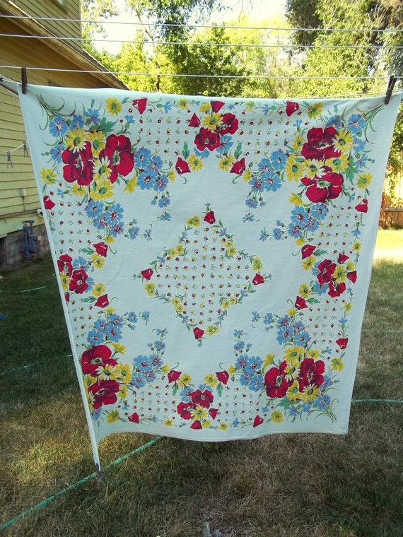 antique 1950s linen table cloth - vivid colors