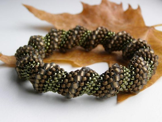 Handbeaded Spiral Bangle in Matt Bronce and Olive Green