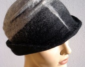 Gray and black retro hat, felted hat, felt cloche, 1920s inspired hat, art deco fashion, vintage inspired, winter hat, winter accessory