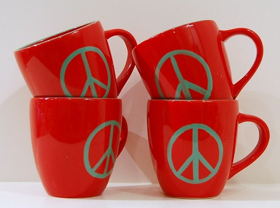 Set of 4 Vintage Red and Turquoise Peace Sign Coffee Mugs Hand Painted Glossy Glaze Ceramic Pottery Sundance coffee house
