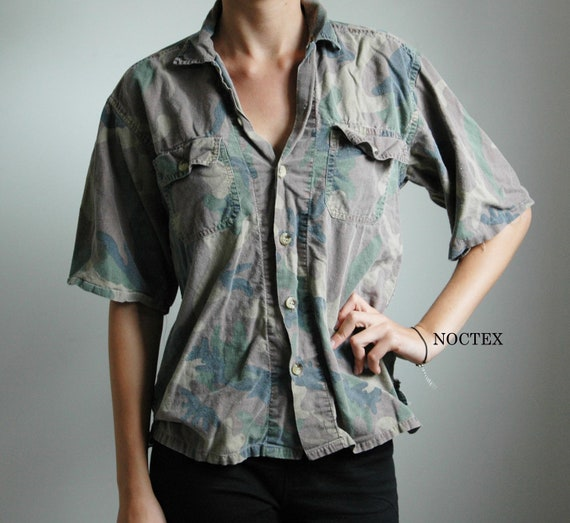 Vintage 90s Army Print Button Up Shirt