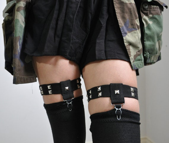 Simple Studded Sock Garters - One Pair - Made to Order