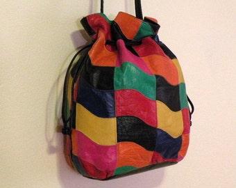 Patchwork Drawstring Purse Handbag Bag 80s Vintage