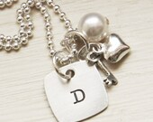 Initial Necklace Personalized Mothers Name Necklace Sterling Silver Charm Jewelry Heart Key Pearl Custom Gift for HerMothers Day