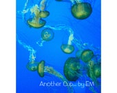 Green Jellies 8x10 - Under the Sea, Ocean, Jellyfish, Stained Glass Digital Edit