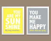 You Are My Sunshine Prints (Set of 2 Prints, Justified) - 8x10 - Nursery Wall Art, Typographic Print, yellow and gray